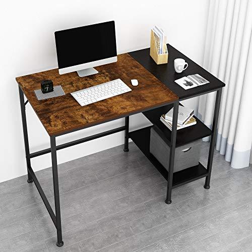 JOISCOPE Scrivania per Computer, Tavolo per Laptop, Scrittorio per Studio con Ripiani in Legno, Tavolo in Stile Industriale Realizzato in Legno e Metallo, 40 Pollici (Finitura della Quercia Vintage)