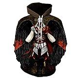 YTQQ-Assassin'S Creed-Unisex 3D Sweater Streetwear, Anime Cartoon Cosplay Disfraz Sudadera Pullover Suéter con cordón,Sudadera con Bolsillo de Canguro-M