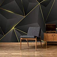 写真の壁3D抽象的な幾何学的な金の縞模様の壁紙壁画のリビングルームのソファテレビの背景家の装飾 300cmx210cm
