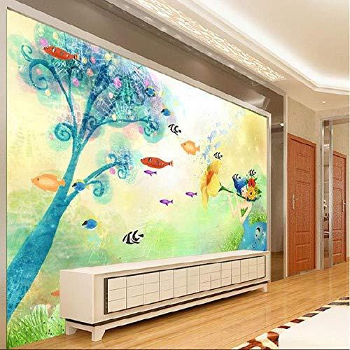HRXBH Mural 3D Dibujos Animados Peces Mundo Submarino Fondo De Pantalla Dormitorio Infantil Sala De Niños Y Niñas Sala Comedor Tv Fondo Art Deco Papel Tapiz Mural Arte De La Pared(W)450x(H)300cm