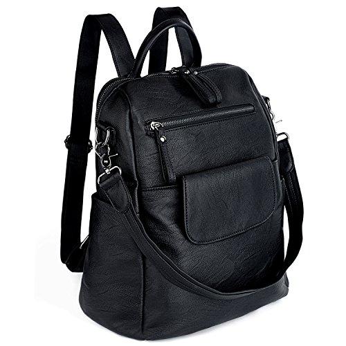 UTO Damen Backpack Purse PU gewaschen Leder Ladies Rucksack Schultertasche schwarz