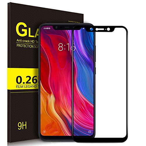 KuGi Xiaomi Mi 8 Filme, Xiaomi Mi 8 Película Protetora [Vidro Temperado] curvo HD Cristal filme Protetor de Tela para Xiaomi Mi 8 (preto)