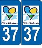 SAFIRMES 2 Stickers Autocollant Style Plaque Immatriculation département 37 VAL DE Loire