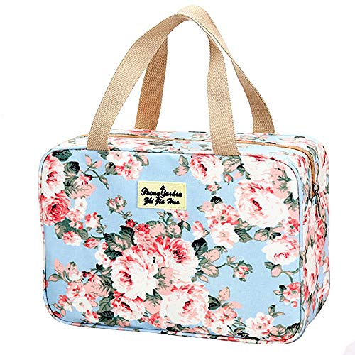 Toiletry Bag for Women Portable Cosmetic Bag Large toiletries Organizer Storage Bag Navy Rose Toiletry Kit Leakproof Travel Make Up Bag for Girls Floral Cosmetic Case (Blue Rose)