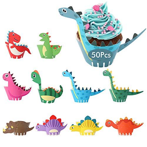 HENTEK 50 Set Dinosaurier Cupcake Wrapper Toppers Papier Dino Verpackung Beidseitig Kuchen Dekorationen Kuchendeckel für Kinder Jungen Party Geburtstag Deko Muffin Backen Kuchenaufsätze