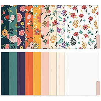 EOOUT 18 Pack Decorative File Folders Floral Folders Cute File Folder Letter Size Colored File Folders,1/3-Cut Tabs 9.5 x 11.5 Inches for Office School Home