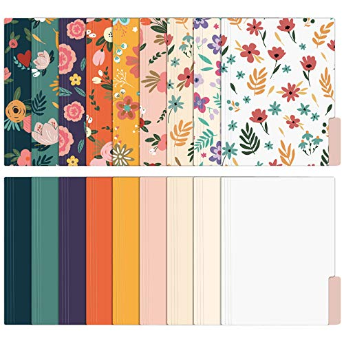 EOOUT 18 Pack Decorative File Folders Floral Folders Cute File Folder, Letter Size Colored File Folders,1/3-Cut Tabs, 9.5 x 11.5 Inches, for Office, School, Home