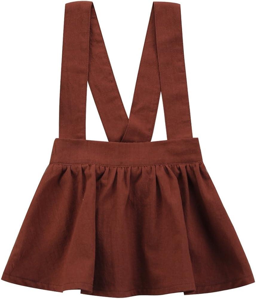 BiggerStore Toddler Infant Baby Girl A-line Suspender Skirt Ruffles Mini Dress Overalls