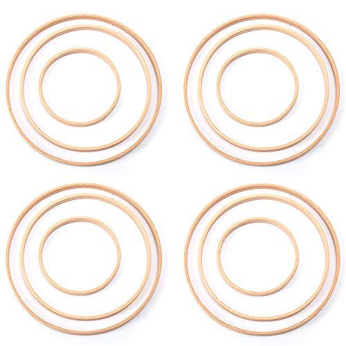 Gobesty Traumfänger Ringe, 12 Stück 3 Größen Traumfänger Ringe Holzringe Bambus Floral Hoop Set DIY Handwerk Traumfänger Machen Dekoration(10 cm 15 cm 20cm)