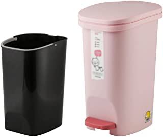 Commercial Waste Basket Foot Pedal Trash Can with Lid Pedal Household with Cover Living Room Kitchen Bathroom Toilet Squar...