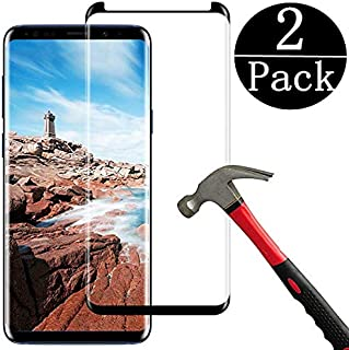 (2 Packs)Samsung Galaxy S9 Plus Screen Protector, Anti-Scratch, HD Clear, Case Friendly 3D Curved Protective Tempered Glass Compatible Samsung Galaxy S9 Plus