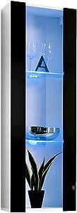 Vetrinetta sospesa Modello Zarco Bianco Nero con LED - Larghezza: 40cm x Altezza: 126cm x profondità: 29 cm