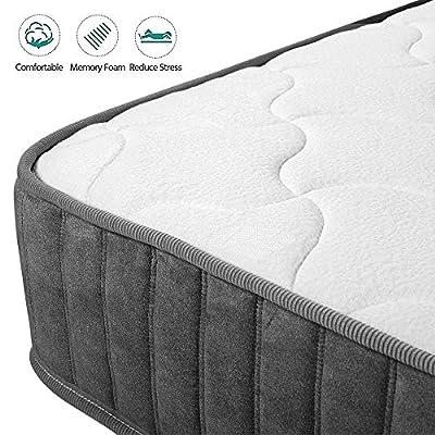 Yaheetech Single Double Mattress 9-Zone Orthopaedic Pocket Sprung Memory Foam Mattress with Tencel Fabric,8.7 In,Grey/White
