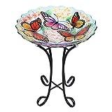VCUTEKA Glass Bird Bath Outdoor with Metal Stand for Lawn Yard Garden Decor Butterfly Bird Feeder