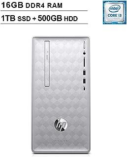 HP 2019 Pavilion 590 Desktop (Intel Quad Core i3-8100 3.6 GHz, 16GB DDR4 RAM, 1TB SSD (Boot) + 500GB HDD SSD, Intel UHD Graphics 630, Bluetooth, HDMI, DVD, Windows 10 Home) (Renewed)