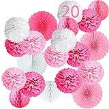 20 Pompones Rosa Decoracion Bautizo Niña, Flores Pompom de Papel de Seda, Abanicos, Bolas de Nido de Abeja Guirnaldas. Decoración Fiesta de Bienvenida de Bebe, Cumpleaños y Boda -20 Piezas-