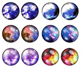 LilMents 6 Pairs Solar System Galaxy Universe Unisex Mens Womens Stainless Steel Stud Earrings (Set H)
