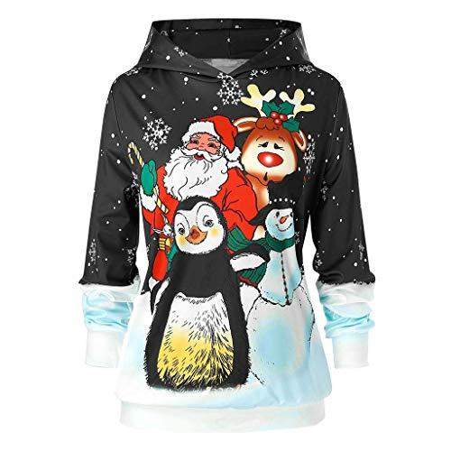 Dwevkeful Weihnachten Weihnachtsmann Hoodie Mädchen Winter Kapuzenpullover Rentier Sweatshirt Festlicher Pullover Geschenk Trainingsanzüge Sport Trainingsanzüge Winterpullover (3XL, Schwarz)