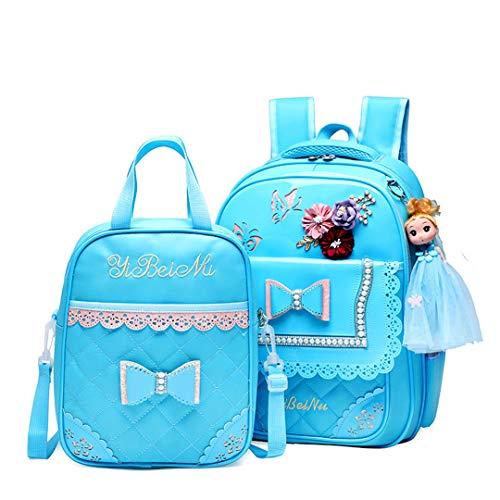 Mochilas escolares para niños, ortopédicas, juego de mochilas escolares, impermeables, para la escuela primaria, azul celeste (Azul) - RS190812