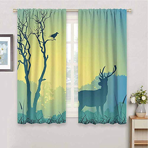 Antlers Decor Collection Fabric Curtain, Curtains 63 inch Length Wild Animal Deerfield Meadow Grassland Tree Morning Time Park Landscape Image Patten Indoor Curtain Olive White W55 x L63 Inch
