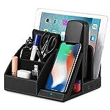 EasyAcc Wireless Charger Induktionsladegeräte Kabelloses Ladegerät Tisch Organizer Ständer USB Anschluss Ladegerät Ladestation für iPhone 13/13 Pro/13 Pro max/12/11, S10e S9 S8-Schwarz