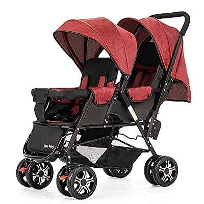 Guo@ Carro infantil doble, cochecito de bebé gemelo Peso ligero plegable Carro de bebé doble de dos plazas