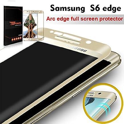 ac34e3eeeb6 TEFOMATE Samsung Galaxy S6 Edge Protector de Pantalla, Vidrio Templado  Protector de Pantalla Completa Tempered