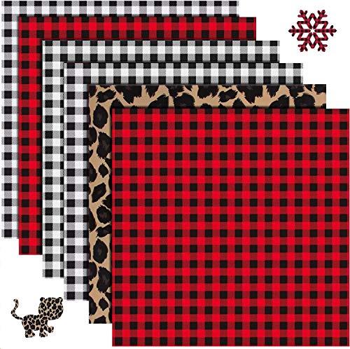 "Christmas Buffalo Plaid HTV Iron on Vinyl - 6 Sheets 12"" x 12""Red Black Buffalo Check Heat Transfer Vinyl-3 Assorted Colors for DIY Iron on Fabrics T-Shirts(Buffalo Plaid,Black Plaid,Leopard Print )"