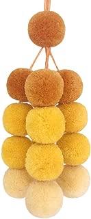 Gradient Yellow Pom Pom Bag Charm Pendant Boho Keyring Keychain for Women Purse Handbag Decor