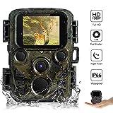 AUPERTO Mini Wildkamera Fotofalle 1080P Full HD - 2.0' LCD mit 940nm IR LED's Sensoren mit Bewegungsaktivierung, IP66 wasserdichte Überwachungskamera für Wildtierjagd und Heimsicherheit