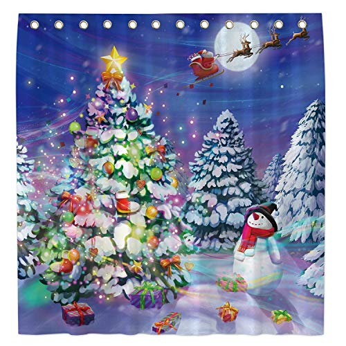 Allenjoy 72x72 Inch Snowy Forest Shower Curtain for Bathroom Sets Winter Christmas Moon Snowman Home Bath Decor Decoration Customizable Durable Waterproof Fabric Machine Washable Curtains with 12 Hook