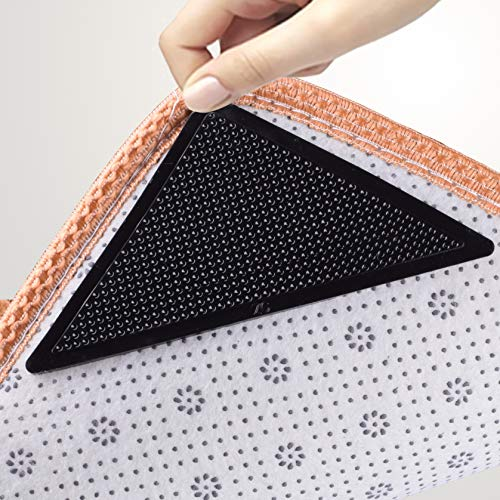 ActFun Rug Tape Non Slip Reusable Washable Rug Grippers for Area Rugs Floor Mats Hardwood Floors Tile Floors Linoleum Carpets Black 4pcs