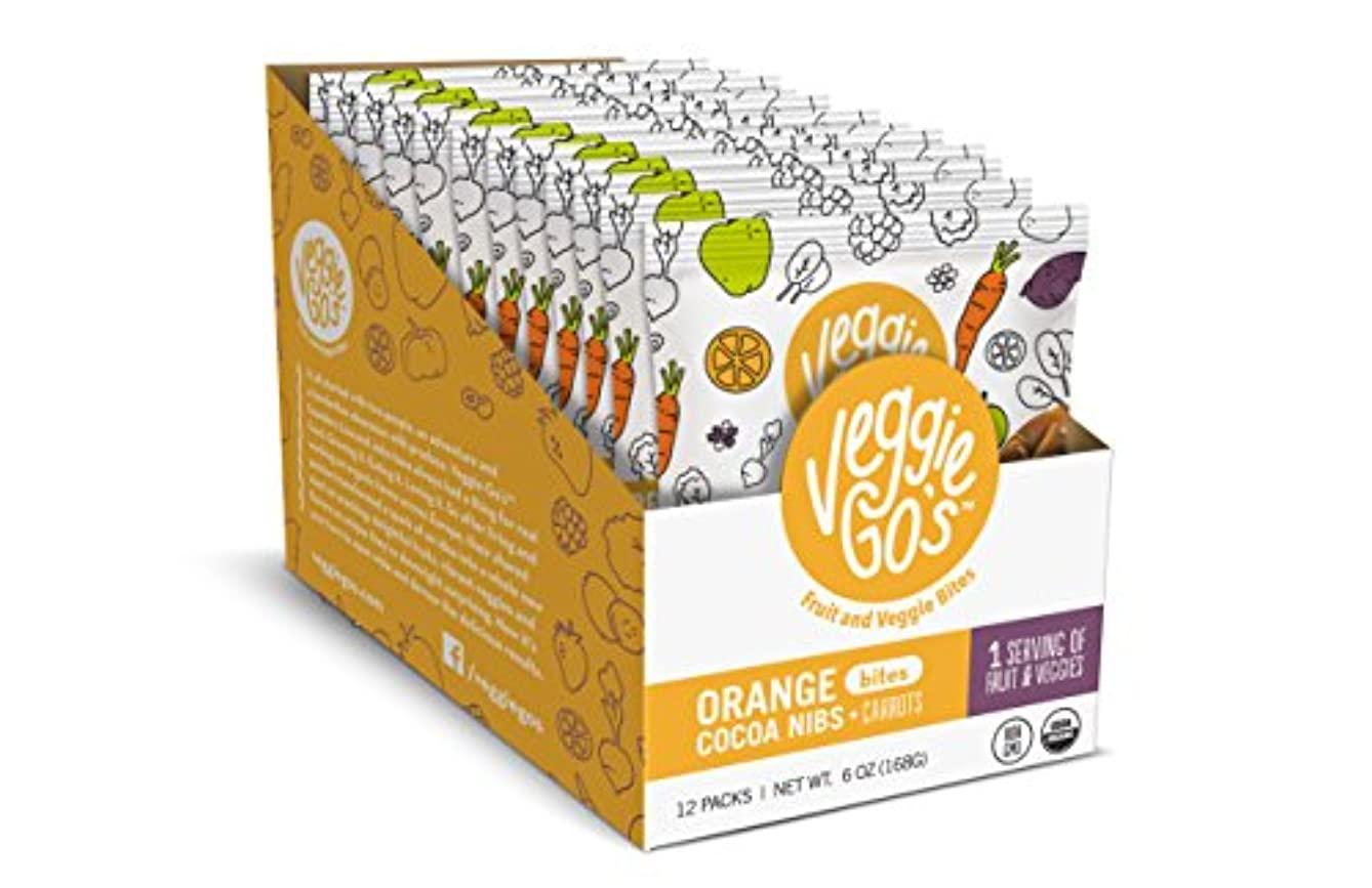 Veggie-Go's Organic Fruit and Veggie Bites with No Added Sugar, Orange, Cacoa Nibs and Carrots, 12 Count