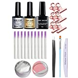gel nail kit,Anself Fiber Builder Gel Fibra de vidrio Upside Base Coat Pinzas Lima de uñas UV Plumas