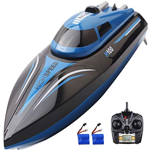 SZJJX RC Boat 2.4Ghz 25KM/H High Speed 4 Channels Remote Control Electric Racing Boat for Pools & Lakes Automatically 180° Flipping Transmitter with LCD Screen Blue
