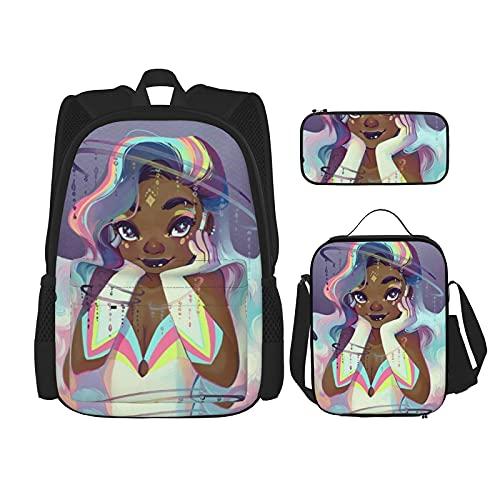 Linda chica afro negra con el pelo colorido mochila escolar para niños, bolsa de almuerzo con estuche de lápices, conjunto de bolsa de escuela 3 en 1