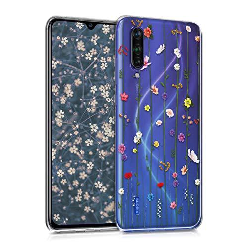 kwmobile Hülle kompatibel mit Xiaomi Mi 9 Lite - Hülle Handy - Handyhülle - Wildblumen Ranke Mehrfarbig Transparent