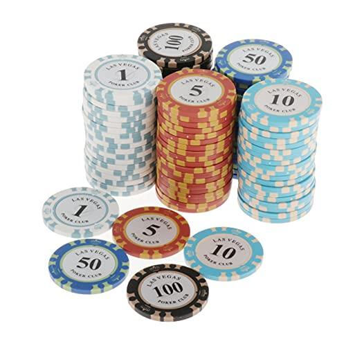 MARYYUN Set da Poker fiches da Poker - Set di Chips Composito Argilla per Carte da Gioco - per Il Texas Hold'em Blackjack & Casino Games - 100 Pezzi Chip di Poker del Casinò (Color : 1 5 10 50 100)