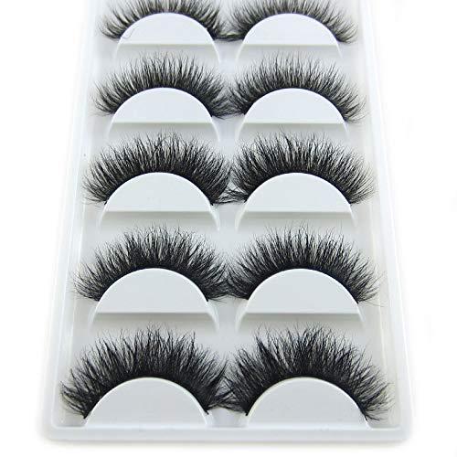 Luxurious 100% Siberian Mink Fur 3D False Eyelash LASGOOS Degisn Natural Messy Thick Volume Fake Eyelashes 5 Pairs/Box (A09)