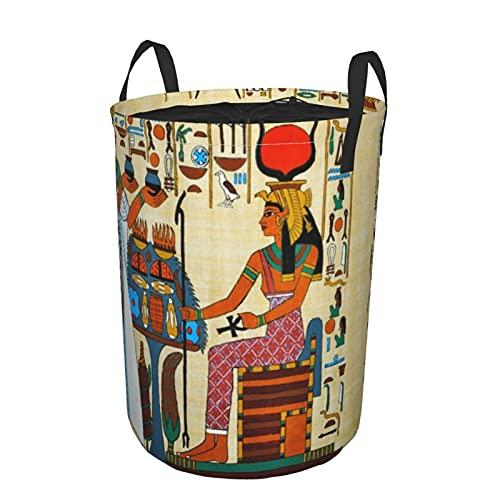 Cesto portabiancheria rotondo,elementi della storia dell'antico Egitto,cesto portabiancheria pieghevole impermeabile con coulisse 21.6'X16.5'