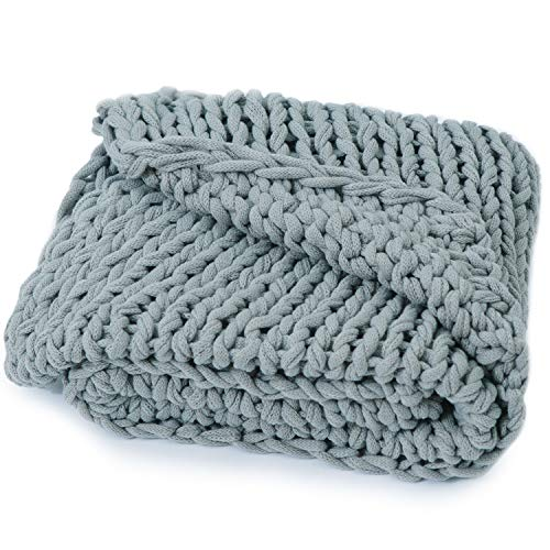 Cheer Collection Chunky Cable Knit Throw Blanket | Ultra Plush and Soft 100% Acrylic Accent Throw - 50 x 60 inches, Gray