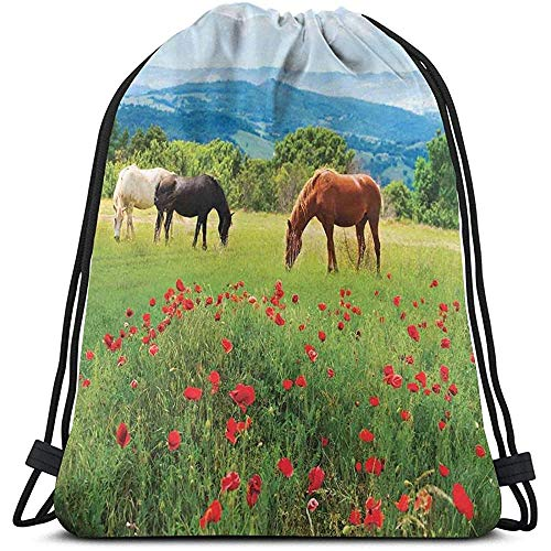Lemotop Rugzakken Zakken, Verschillende soorten paarden eten gras in het veld met Mountain Landscape Rural Scene Print,Verstelbaar