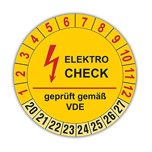 100 Stück Elektro Prüfplaketten für 8 Jahre und 12 Monate, Durchmesser 30mm, Farbe gelb, Aufkleber, Prüfaufkleber, Prüfetiketten, Folienaufkleber mit UV-Schutzlackierung, Prüfung (Auf-P13)