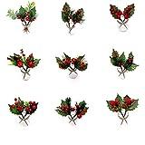 JK® - Confezione da 9 Bastoncini Artificiali con Foglie di Agrifoglio Rosse, steli da 16,5 cm, per Decorazioni per Albero di Natale, ghirlande e ghirlande Natalizie