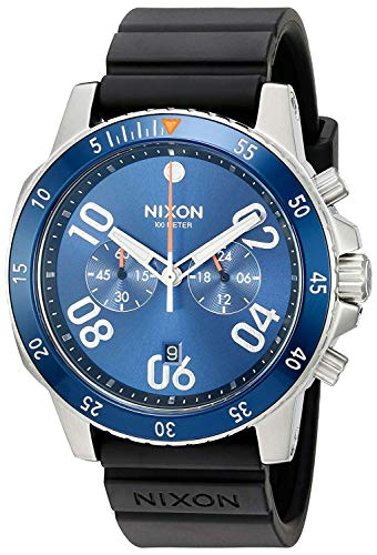NIXON Herren Chronograph Quarz Uhr mit Gummi Armband A9581258