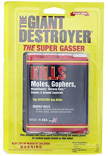 The Giant Destroyer (GAS KILLER) (1Pack of 4 Tubes) kills Moles, Gophers, Woodchucks, Norway Rats, Skunks, Ground Squirrels in their Holes, Tunnels, Burrows. NO dealing w/ dead pest, better than traps