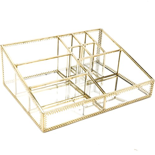 Hersoo Gold Mirrored Vanity Tray,Glass Makeup Display Organizer,Dresser Comestic Storage for Palette/Lipstick/Brushes/Skincare/Perfumes/Bathroom Accessories New Hampshire
