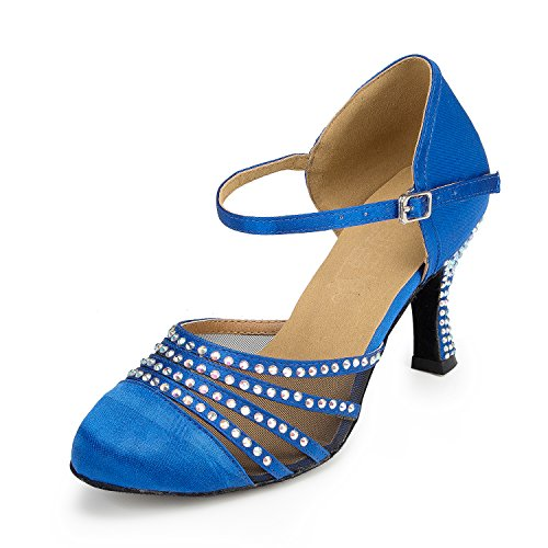 URVIP Nowości damskie buty z cekinami, na obcasie, nowoczesne buty latynoskie z paskiem na kostkę, buty do tańca LD036, niebieski - niebieski - 41 EU