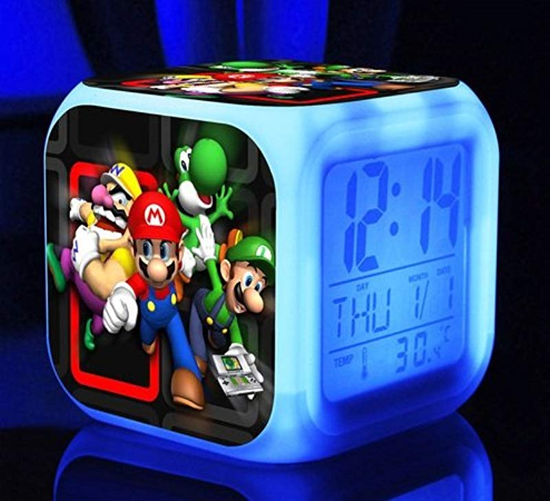 AThiToZone Arrive Within 3 5 Weeks SUPER MARIO BROS 7 Colors Change Digital Alarm LED Clock Game Cartoon Night Colorful Toys For Kids Style 8