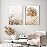 HGUT Cuadro moderno y sencillo de hortensias secas, con flores, plantas, lienzo para pared, arte moderno para salón, decoración del hogar (sin marco) (50 x 70 cm x 2)
